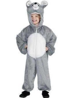 Kids Plush Mouse Costume Mascot Furry Hooded Gray Jumpsuit B