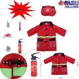 Kids Pretend Toy Set Fireman Role-Play Costume Play Set w/Fu