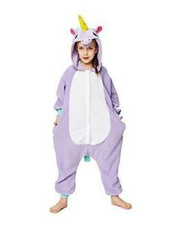 NEWCOSPLAY Kids Purple Unicorn Pajamas Costume Large 10 12 S