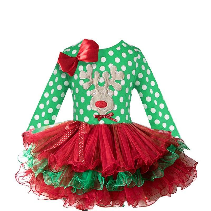 2-6T Santa <font><b>Dress</b></font> Party Year Baby Clothes Tree Children