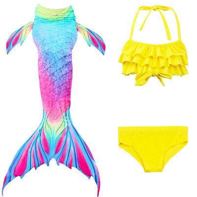 3Pcs Girls Mermaid Tail Bikini Set Costumes US