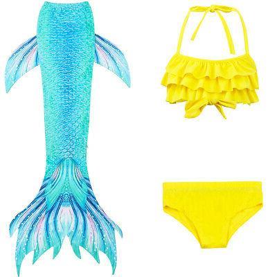3Pcs Kids Mermaid Tail Swimsuit Set Swimming US