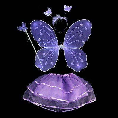 4Pcs Fairy Set Wings&Tutu&Wand&Headband