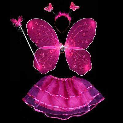 4Pcs Fairy Costume Wings&Tutu&Wand&Headband