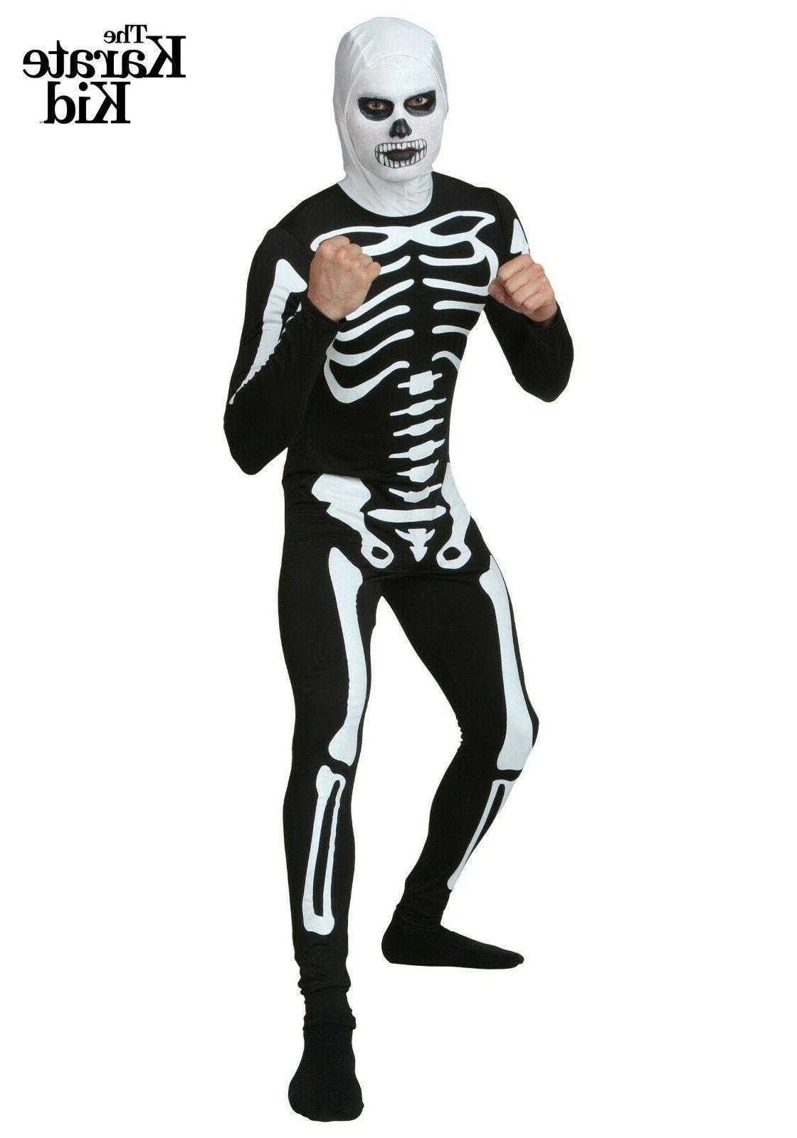 adult karate kid skeleton costume suit size