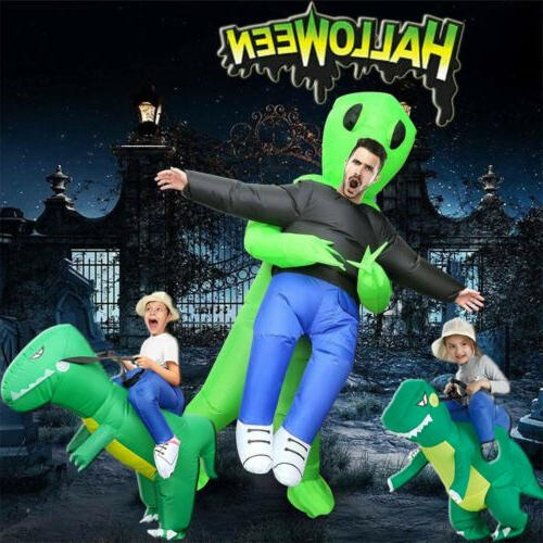 adult kids inflatable green alien and dinosaur
