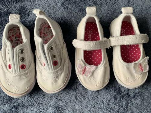 baby girl shoes lot size 4 white