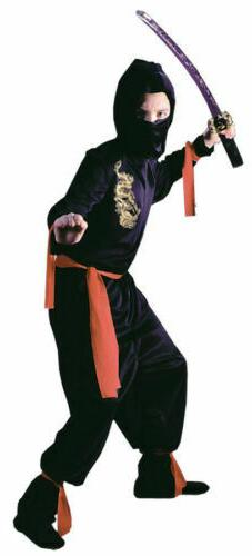 Black Ninja Kids Costume Halloween Small to Large~Fun World~