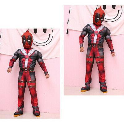 Boys Kids Deadpool Jumpsuit Cosplay Costume Party US