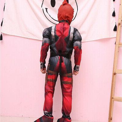 Boys Kids Super Deadpool Jumpsuit Cosplay Costume Fancy US