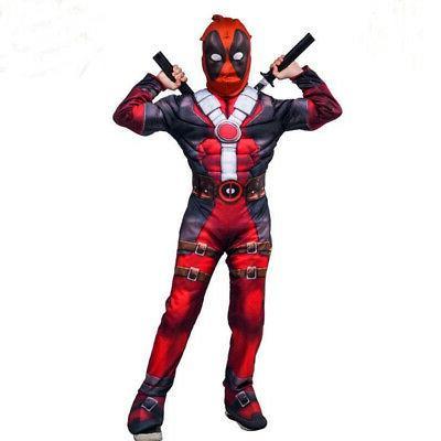 Boys Kids Hero Deadpool Jumpsuit Costume Party US
