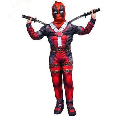 Boys Kids Super Deadpool Jumpsuit Mask Cosplay Costume US
