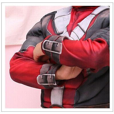 Boys Deadpool Jumpsuit Mask Costume Party Fancy US