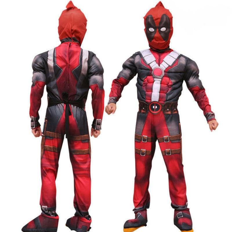 Boys Kids Super Hero Deadpool Jumpsuit Mask Cosplay Party Fa