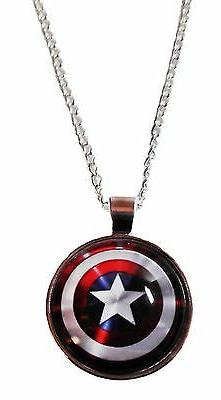 Marvel Comics CAPTAIN AMERICA Logo Shield Glass Dome PENDANT