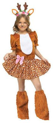 Child Girls Oh Deer Motif Dress With Attached Tail Headband