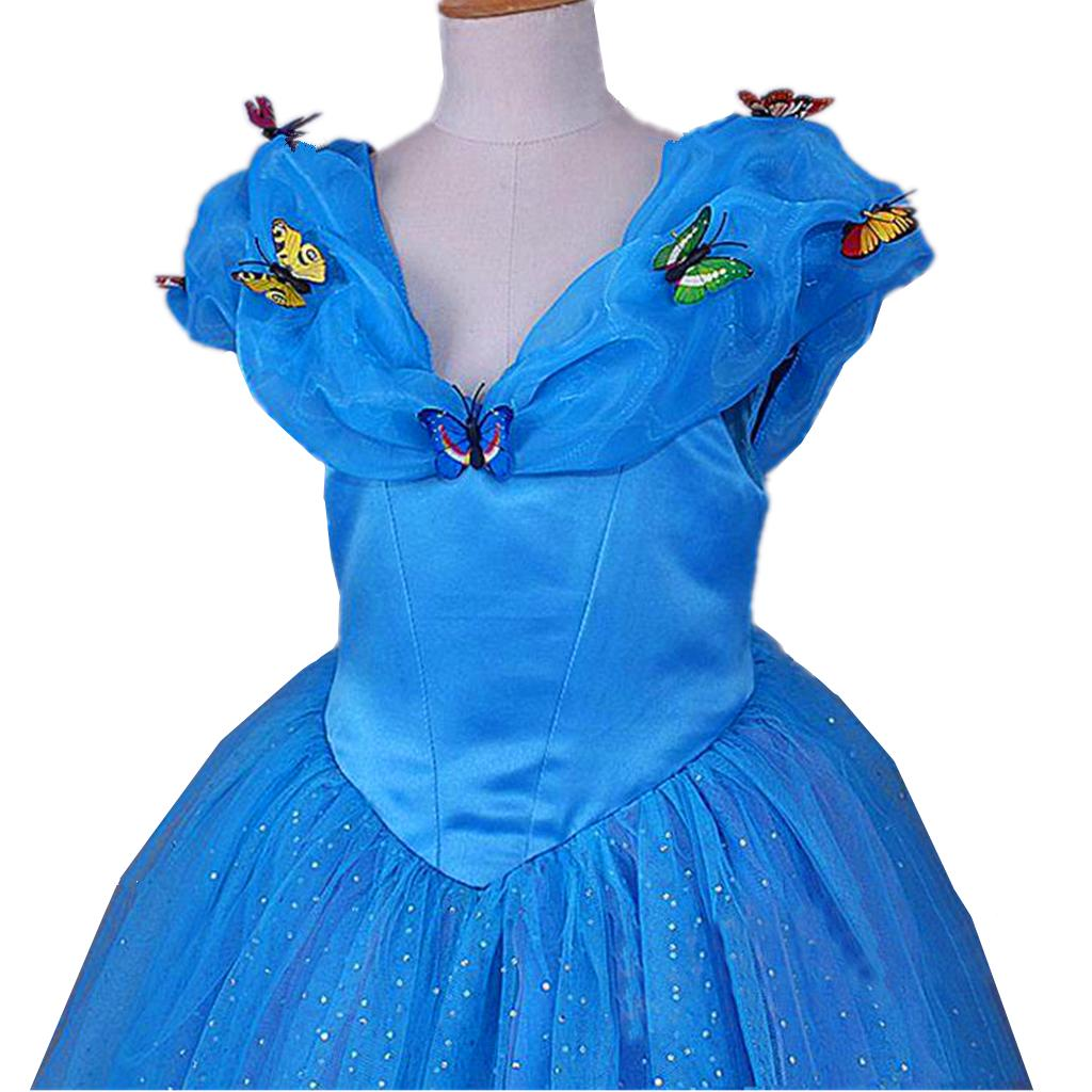 Cinderella Princess Butterfly Party Dress Costume Dress for 2-12