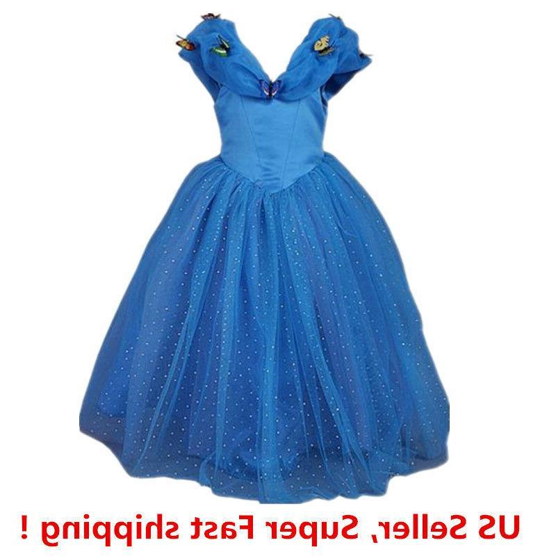 cinderella princess butterfly party dress kids costume