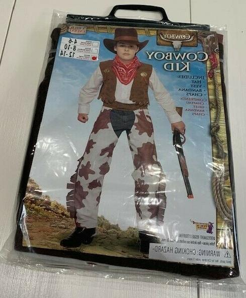 Cowboy Costume Chaps Vest Hat & Bandana Size 12-14