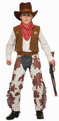Cowboy Kid Costume Cowboy Chaps Vest Hat & Bandana Kids Size