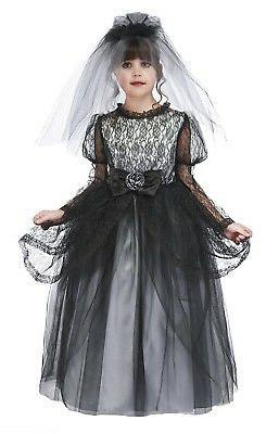 dark bride costume with hoop and veil
