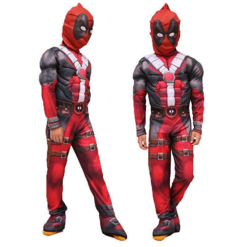 boys kids super hero deadpool jumpsuit mask