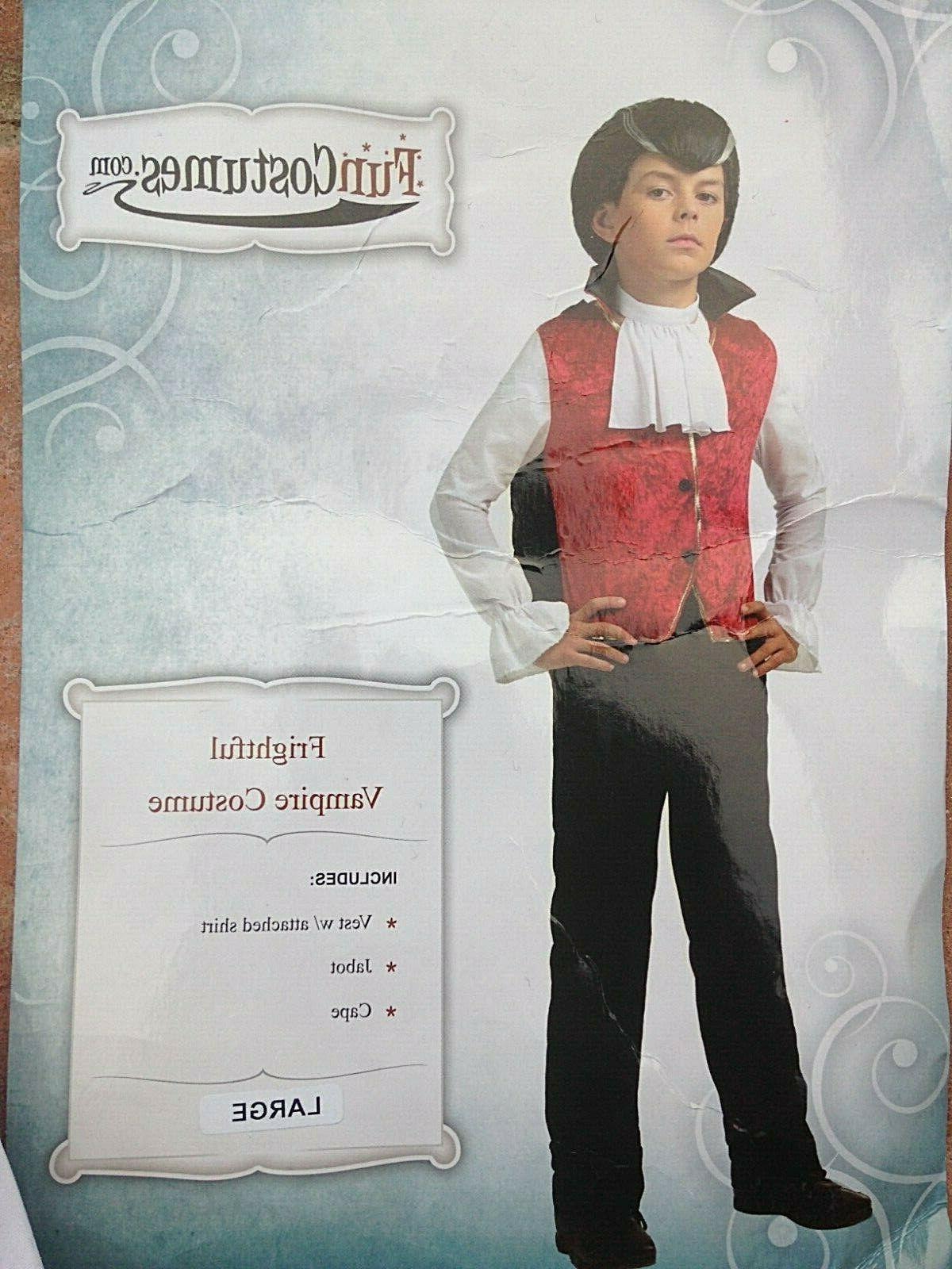 Dracula VAMPIRE Costume: Vest w/attached shirt, cape, sz Child L