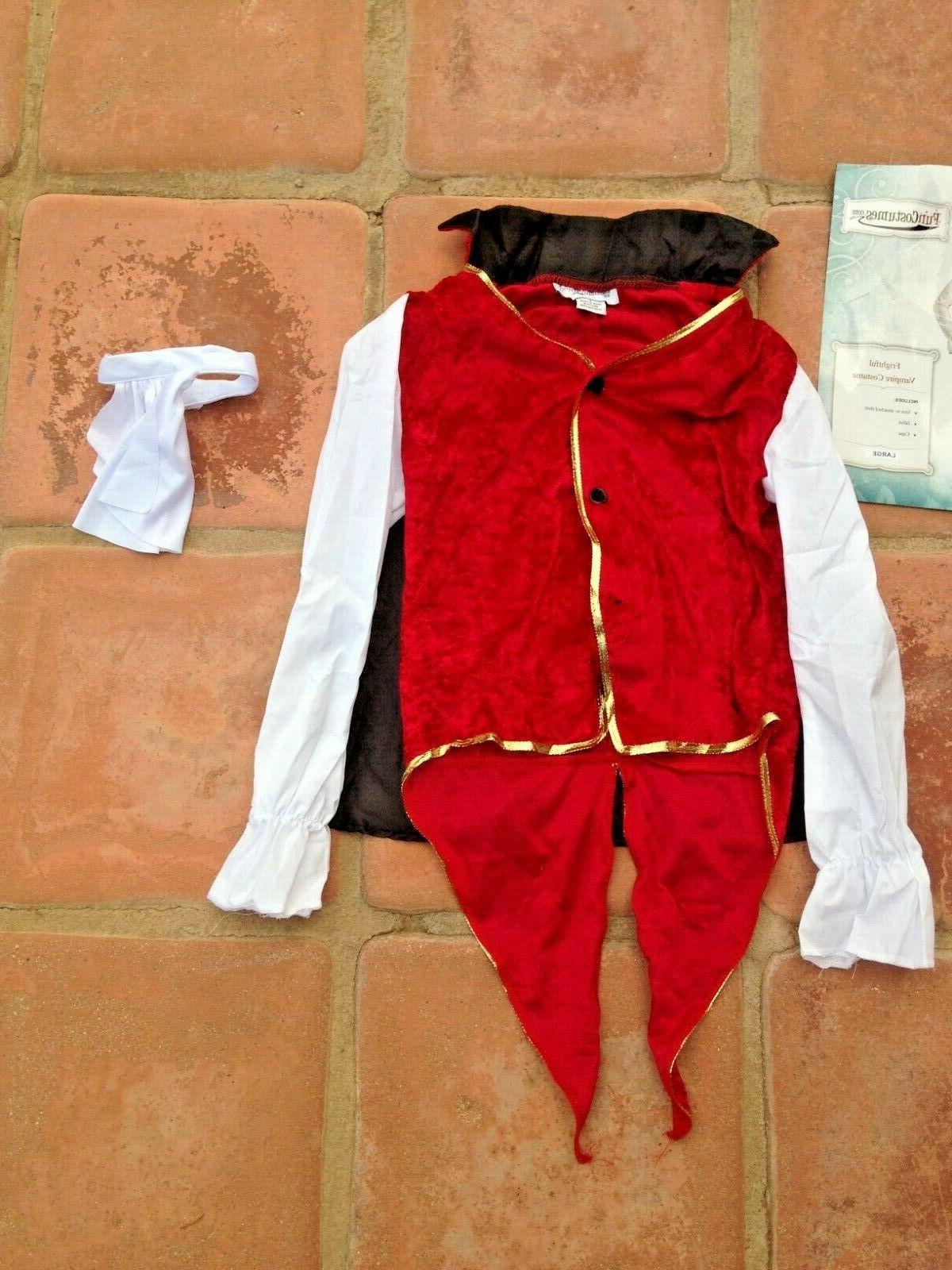 Dracula VAMPIRE Costume: w/attached shirt, cape, sz