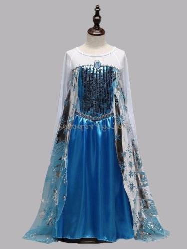 FE13 Elsa Snow Queen Dress Frozen Disguise Kids Girl Hallowe