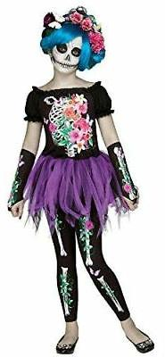 Fun World Girl's Beautiful Bones Floral Skeleton Tutu Child