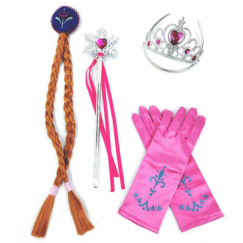 Girls <font><b>Dress</b></font> Gloves Wig Crown Snow Birthday Party