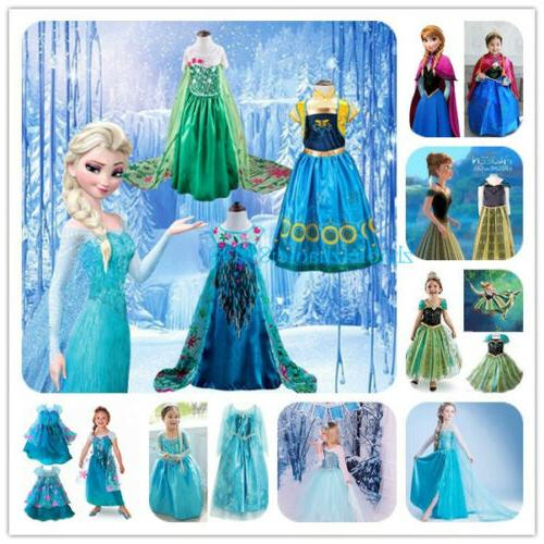 Kids Dress Costume Princess Anna Party Cosplay Sets