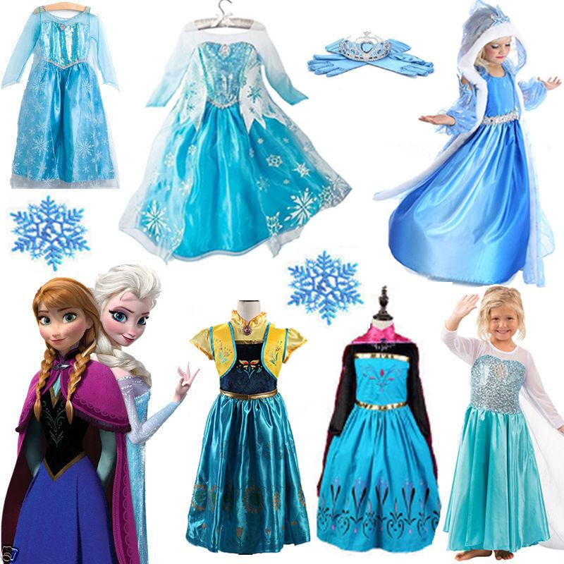 kids girls elsa frozen dress costume princess