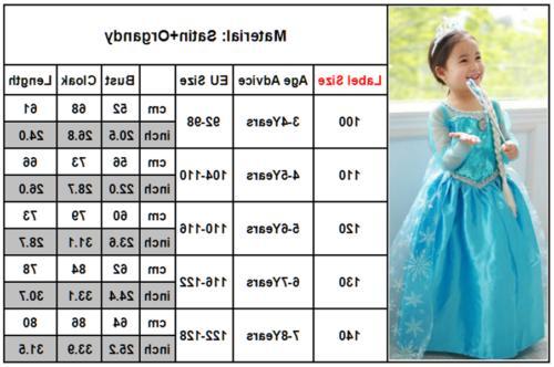 Girls Frozen Princess Dress Costume Fancy