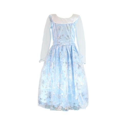 Girls Queen Elsa Anna Dress Fancy Costume Kids