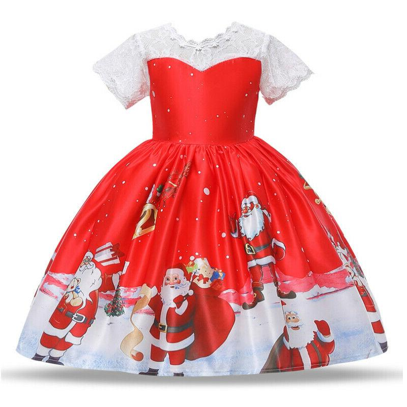 Girls Christmas Print Swing Dress Santa Party Costume US