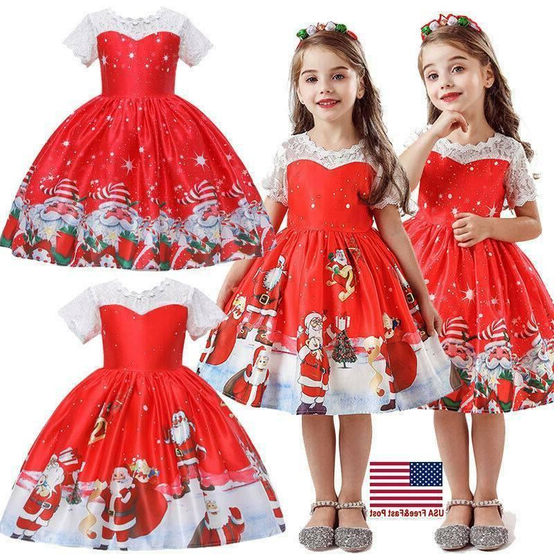 girls kids christmas print swing dress santa