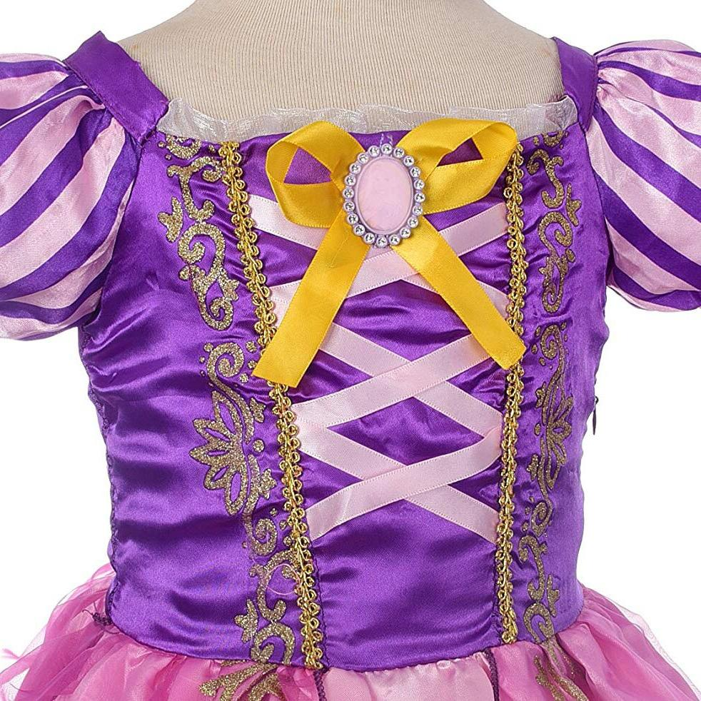 Girls Rapunzel Princess <font><b>kids</b></font> Summer Bow <font><b>Costume</b></font> With Birthday Carnival Cosplay <font><b>Dress</b></font>