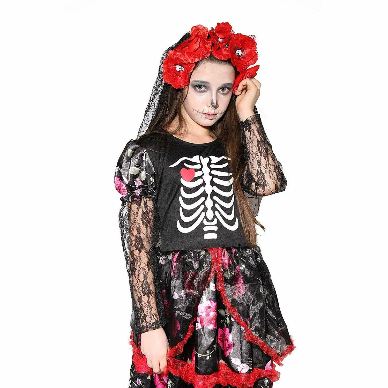 Girls Skeleton Costume Kids Halloween Zombie Bride Fancy