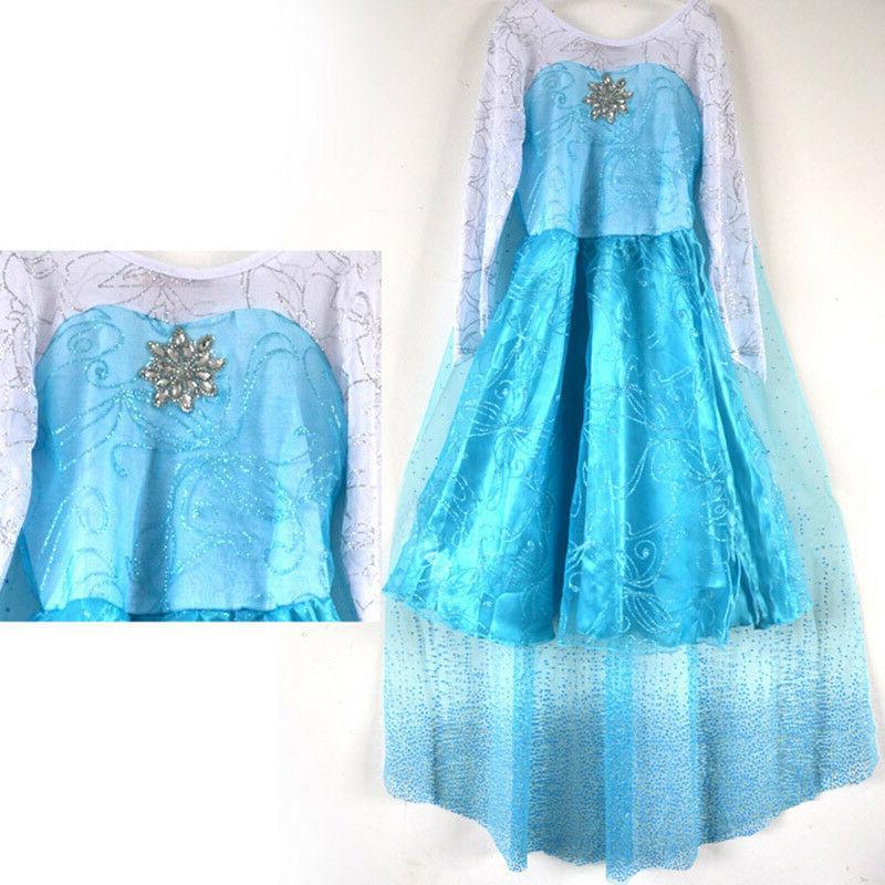 Kids Girls Blue Dress Costume Princess Anna Party Dresses