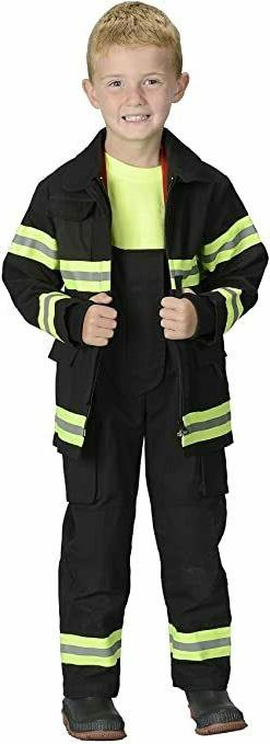 Jr. Fireman Fire Fighter Deluxe Black Child Costume Suit Aer