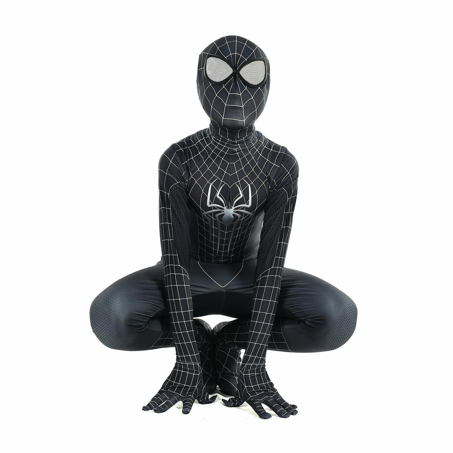 kid black spiderman cosplay costume halloween birthday