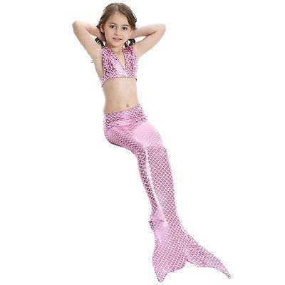 Kid Girl Mermaid Bikini Set Swimmable Tail US