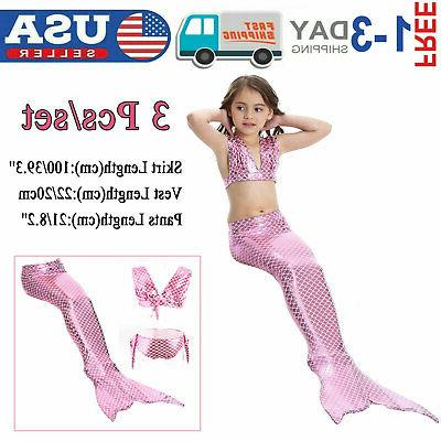 kid girl mermaid tail bikini set swimmable