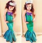 Kids Ariel Little Mermaid Set Girl Princess Long Dress Cospl