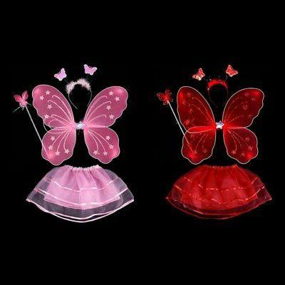 4Pcs Kids Girls Princess Wings&Tutu&Wand&Headband