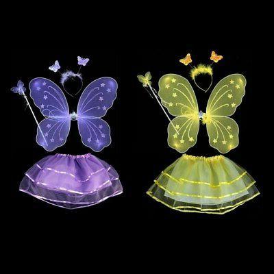 4Pcs Kids Girls Princess Fairy Wings&Tutu&Wand&Headband