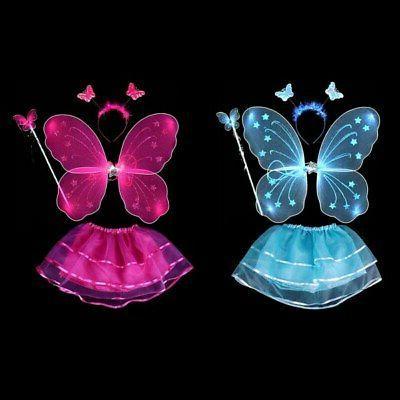 4Pcs Kids Fairy Set With Wings&Tutu&Wand&Headband