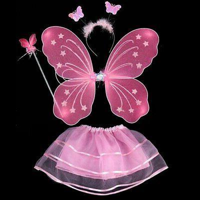 4Pcs Kids Girls Princess Fairy Costume Set With Wings&Tutu&W