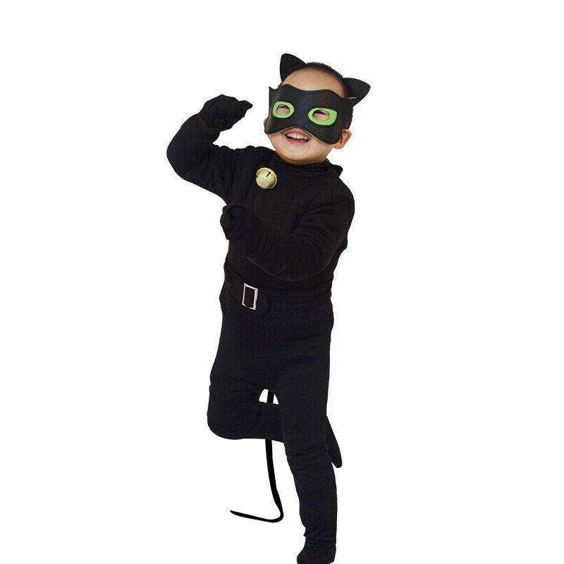 Kids Black Cat Noir Jumpsuit Pajamas